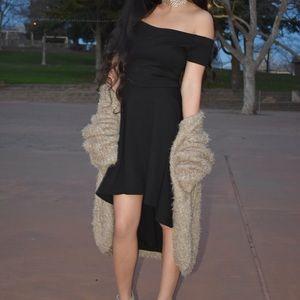 Black off the shoulder high low dress